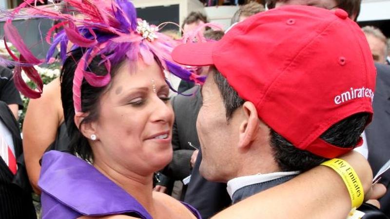 Winning Jockey's Wife Celebrates