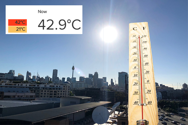 Article image for Sydney scorcher – temperatures hit 43°