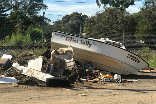 Boat dumped on road in Sydney's south west