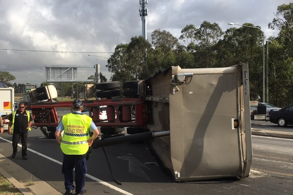 Truck rollover at Oakhurst