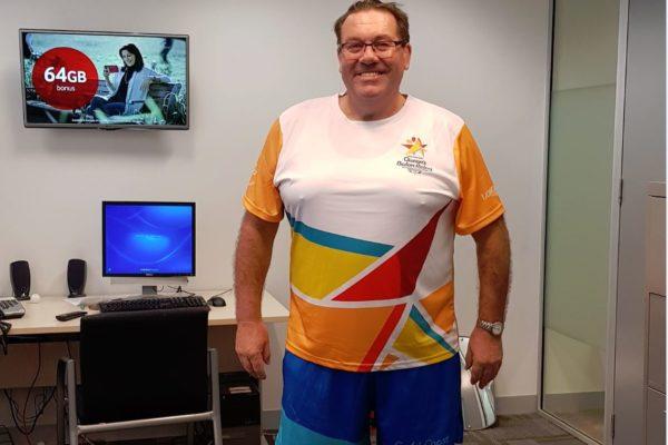 David Morrow proudly runs the Commonwealth Games Queen's Baton Relay