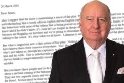 Alan's letter to Cricket Australia CEO James Sutherland