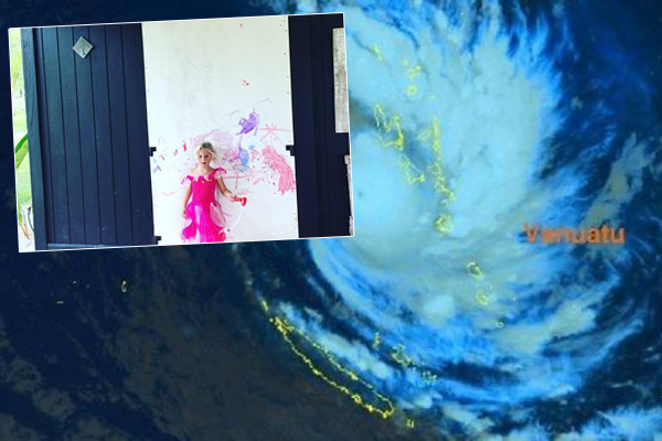 Article image for Weatherman's daughter prepares for Cyclone Hola in adorable fashion