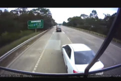 VIDEO | Truck's near miss with moronic driver