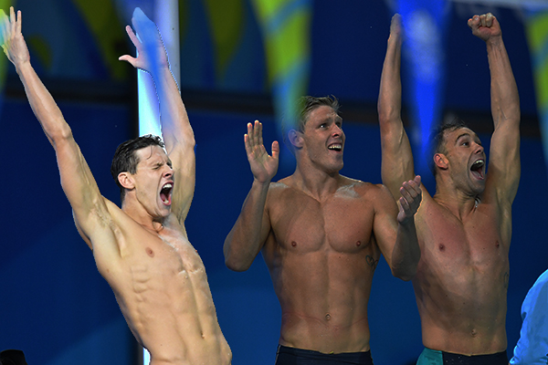 Article image for Mitch Larkin and the Aussie swimmers celebrated long into the night