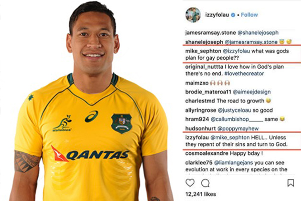 Religious leader backs Folau for 'freedom of speech'