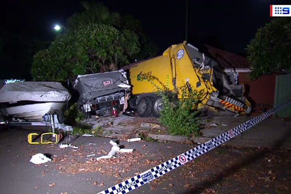 Article image for Garbage truck ploughs into family home