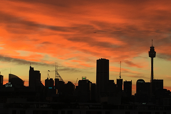 Sydney puts on an early morning light show