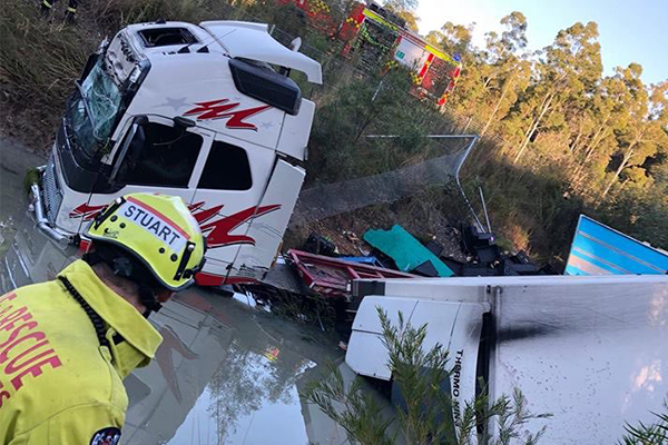 Article image for B-double driver 'dozed off', crashes into creek