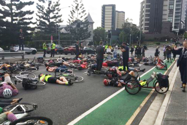 Article image for Mass cycling protest causes traffic chaos for peak hour commuters