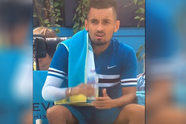 Article image for Nick Kyrgios slapped with $23,500 fine for imitating sex act on live television