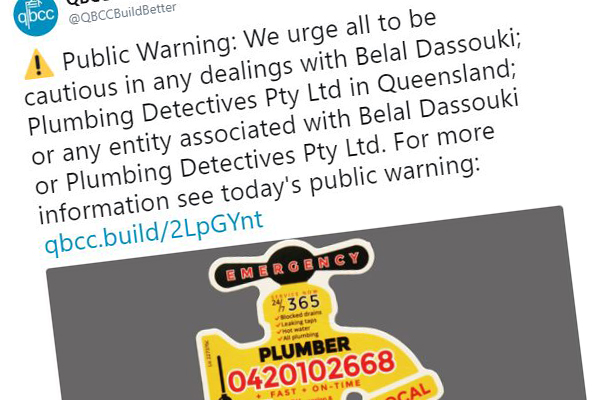 Article image for Shonky plumbers run out of Queensland… still operating in New South Wales