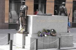 Drunken disgrace: Man defaces the Martin Place cenotaph
