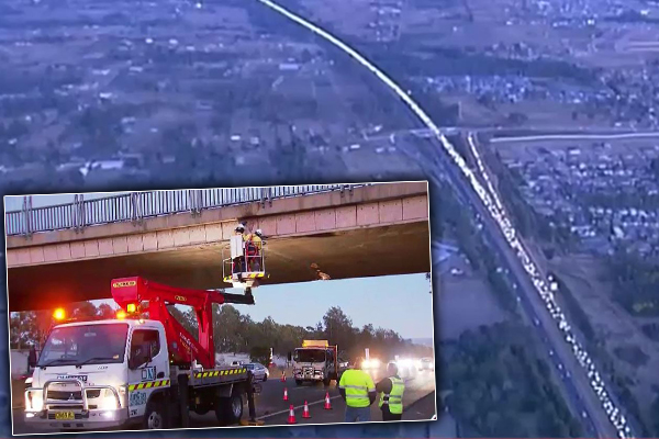 Article image for 'It's not good enough': Police furious after overheight truck causes chaos on the M4