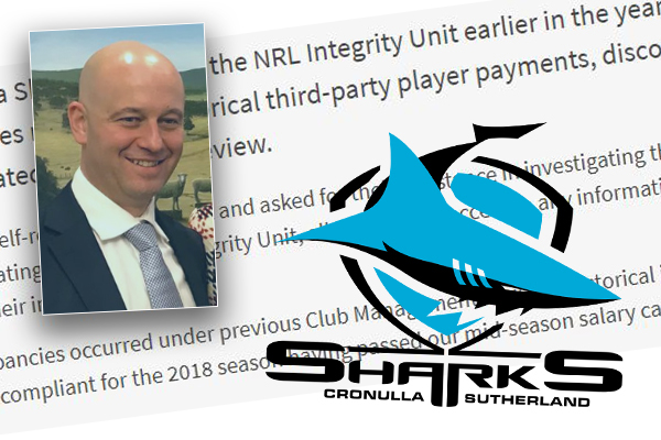 "NRL boss working to resolve Cronulla Sharks salary cap saga ""as soon as possible"""