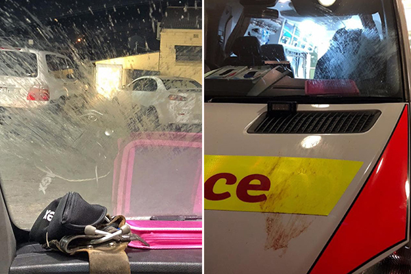 Article image for Dirty nappy thrown at ambulance windscreen during emergency