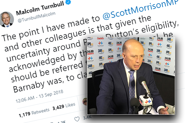'The first it was ever mentioned… was during the leadership week': Dutton responds to Turnbull's tweet