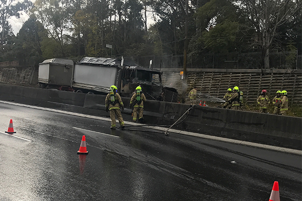Truck fire and multi-vehicle accident causing traffic chaos