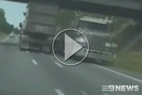 Article image for WATCH   Truckie gambles his life, swerving in and out of lanes