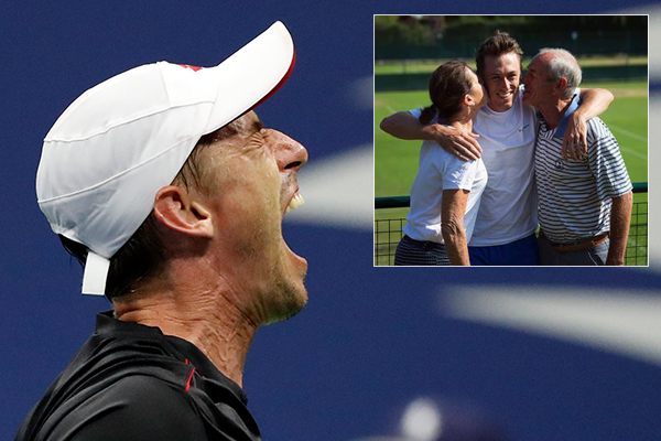 Article image for 'I'm super proud of him': Father and sister give touching tributes as Aussie tennis star beats Roger Federer