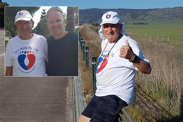 Article image for Alan Staines crosses the finish line after making monumental journey for mental health