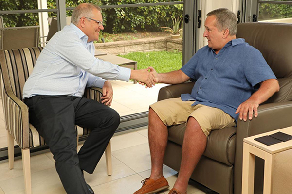 Article image for Former 2GB host Glenn Wheeler visited by Prime Minister Scott Morrison