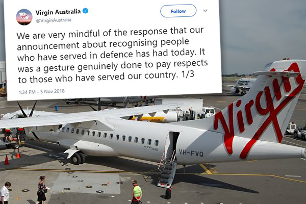 Article image for Virgin Australia backing down from 'cheesy' decision to honour veterans