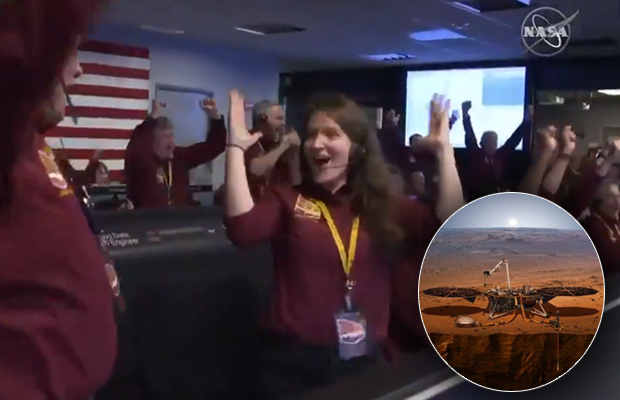 Article image for Video: Celebrations as NASA probe InSight lands on Mars