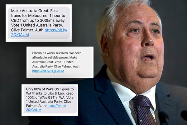 Clive Palmer blasted after unsolicited texts, says he'll send more