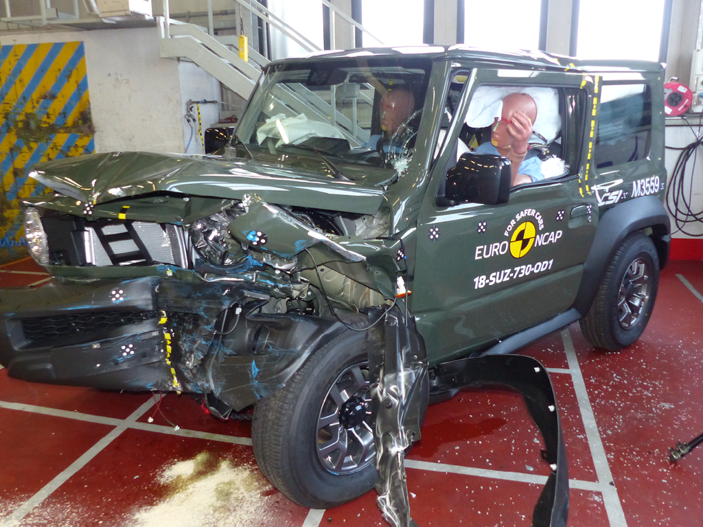 Offset crash test showing excessive deformation of passenger compartment.