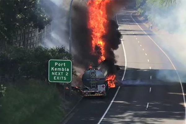 Fuel tanker bursts into flames on the M1 at West Wollongong