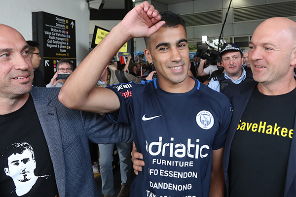 Article image for 'There was rapture': Refugee footballer Hakeem al-Araibi touches down on Australian soil