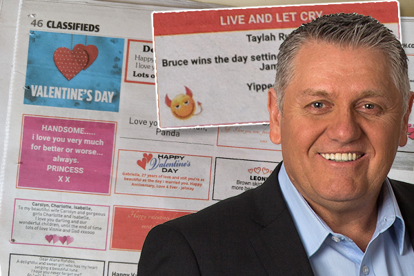 Ray Hadley's producer receives not-so-cryptic Valentine's Day message in the classifieds