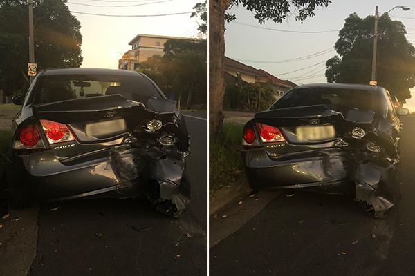 Driver abandons car and unconscious passenger after crash at Yagoona