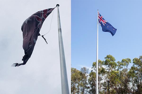 UPDATE   Mayor replaces tattered Australian flag