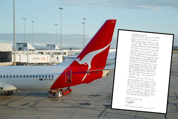 Article image for Qantas CEO replies to 10yo entrepreneur's adorable letter