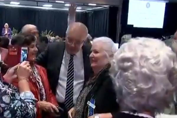 Prime Minister Scott Morrison egged at conference