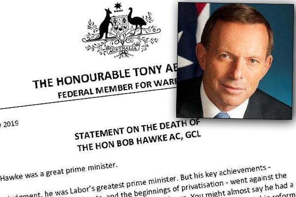 Tony Abbott defends statement about Bob Hawke's death