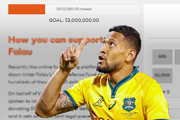 Article image for Israel Folau's new fundraising page soars after GoFundMe snub