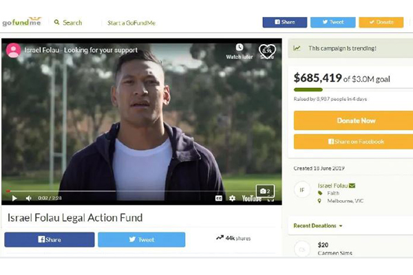 'PC gone mad': Senator calls out GoFundMe after Israel Folau's campaign shut down