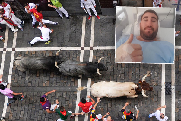 Article image for 'Huge adrenaline rush': Aussie describes being gored by bull in Spain