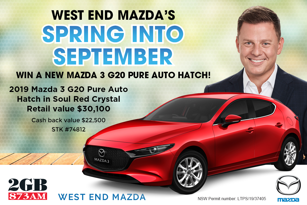 Win a new Mazda 3 G20 Pure from West End Mazda!
