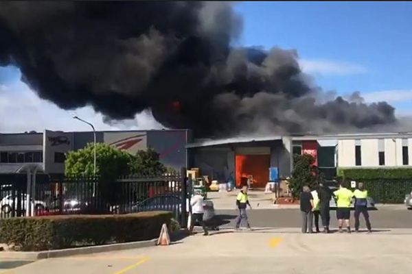 Article image for Chemical factory engulfed in flames in Sydney's south-west