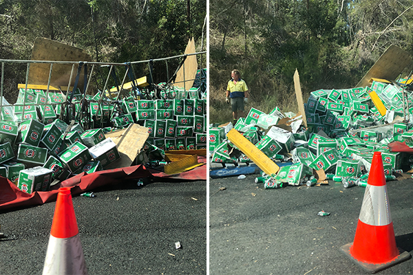 Article image for 'The beer is not ok': Dozens of cases spill all over the Pacific Hwy