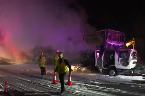 Article image for Fiery truck crash causes chaos on the M1