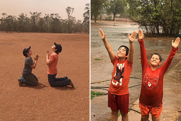 Country boys jumping for joy after prayers for rain answered