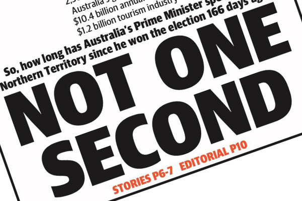 Article image for The NT News strikes again with front page targeting the Prime Minister