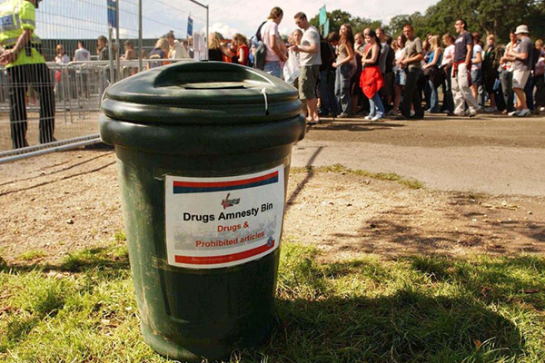 Drug amnesty bins to be isolated from police at NYE festival debut