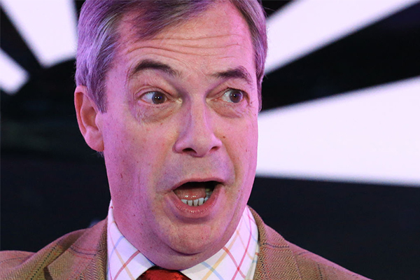 Nigel Farage speaks with Deb Knight after landslide UK Conservative election victory