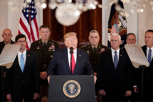 Article image for President Trump de-escalates military conflict with Iran